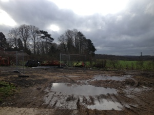 Looking west from our barn - note the metal barriers that indicate the site boundaries.  This is our land!