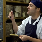 Chris George, like me, also ex of Neal's Yard Dairy, sampling cheese on a tour of their maturing facility, back in 2009
