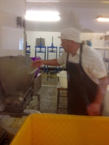 Graham Kirkham prepares to mill curd from 2 days to pack into the moulds.